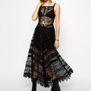 Intimately Free People Lace Apron Maxi Dress Black